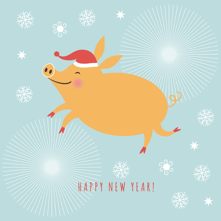 Happy New Year, Chinese New Year greetings card, Year of the Pig,