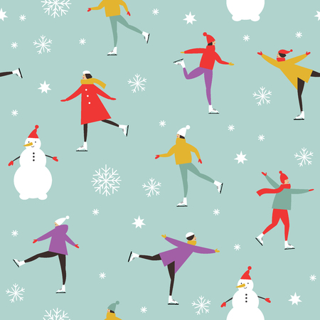 Vector pattern of people skating on ice