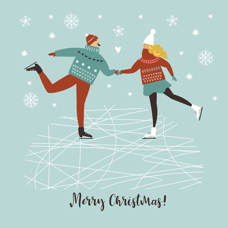 Young couple skating on the ice Illustration