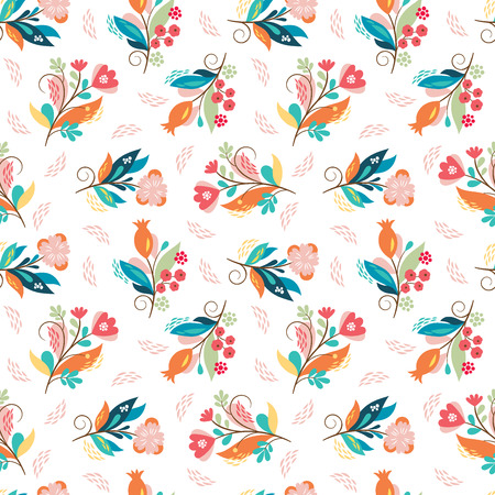 whimsical flowers, vector illustration 일러스트