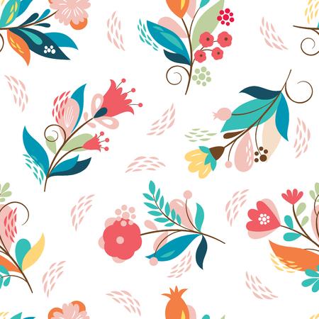 whimsical flowers, vector illustration 일러스트