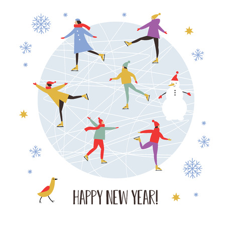 Merry Christmas or Happy New Year's card design Stock Illustratie