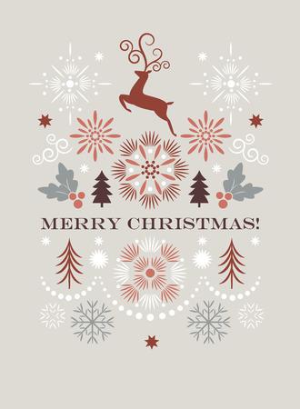 Merry christmas greeting card, Vector illustration