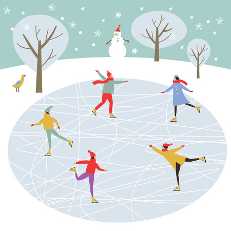 Vector drawing of people skating, Merry Christmas or Happy New Year's illustration. Çizim