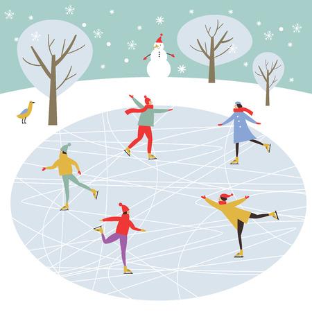 Vectortekening van mensen die schaatsen, prettige kerstdagen of gelukkig nieuwjaarsillustratie. Vector Illustratie