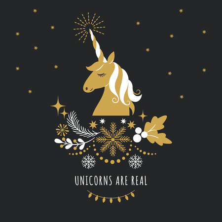 Merry Christmas or New Year greeting card with unicorn, vector illustration on black background 일러스트