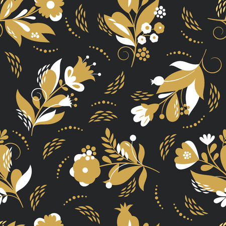 Beautiful seamless pattern, whimsical flowers, vector illustration Illustration