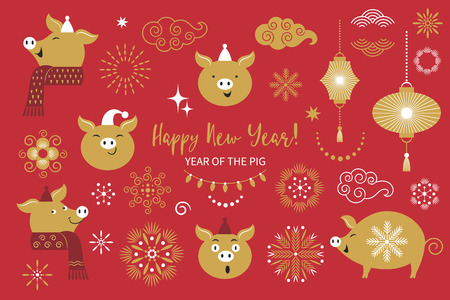 Pig is a symbol of the 2019 Chinese New Year, vector collection