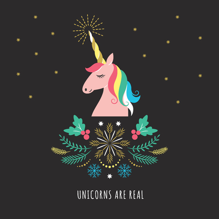 Merry Christmas or New Year greeting card with unicorn, vector illustration on black background Illustration