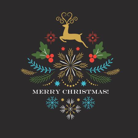 Tarjeta de felicitación de Navidad feliz, ilustración vectorial Ilustración de vector