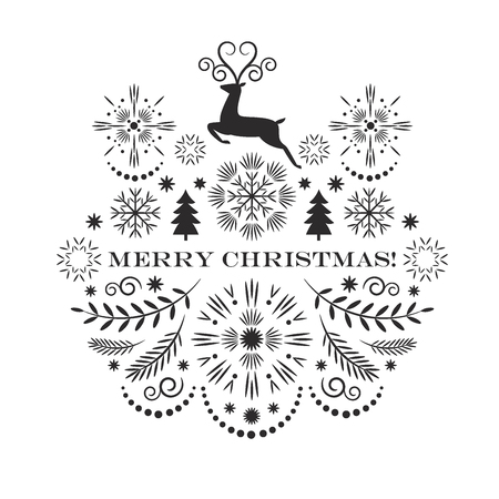 Merry christmas greeting card, vector illustration, black and white image Ilustração