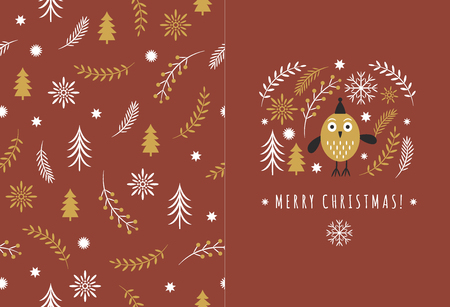Merry Christmas Greeting card, Cute Owl, Vector illustration
