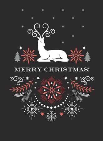 Merry Christmas greeting card, Vector illustration
