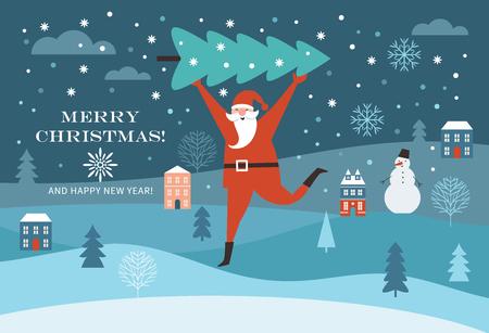 De kerstman draagt een grote kerstboom. Wenskaart. Prettige kerstdagen en gelukkig nieuwjaar, platte vectorillustratie