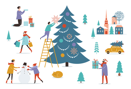 Winter scenery. Wintertime. Merry Christmas and Happy New Years card Illustration