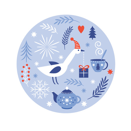 Christmas and New Years Greeting card Иллюстрация