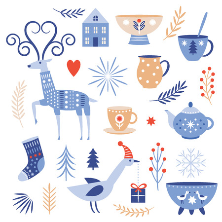 Winter vector collection, flat cartoon style