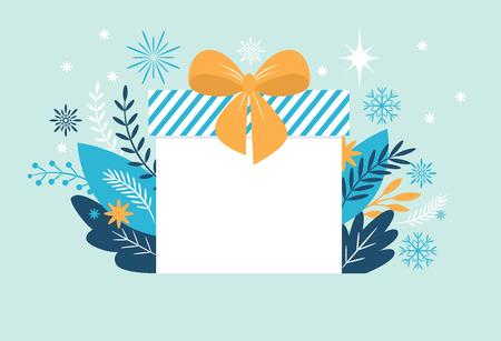Bif gift box, Christmas banner, New Year Greeting card Illustration