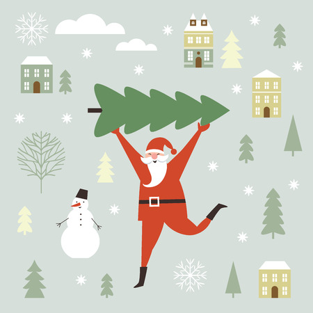 Santa Claus carry big Christmas tree. Greeting card. Merry Christmas and Happy New Year, flat vector illustration