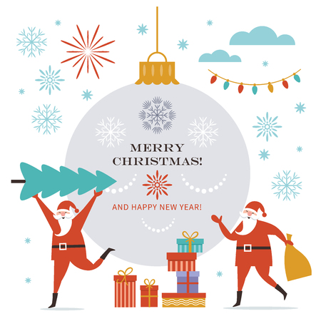 Santa Claus carry big Christmas tree and present sack. Greeting card. Merry Christmas and Happy New Year, flat vector illustration