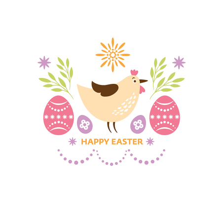 Happy Easter greeting card design, cute chicken Illustration