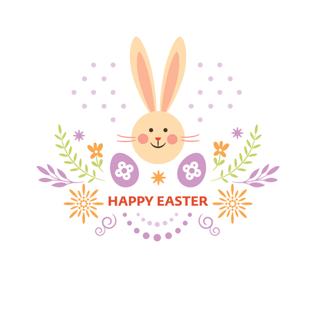Happy Easter greeting card, cute bunny and floral decorative elements Illustration
