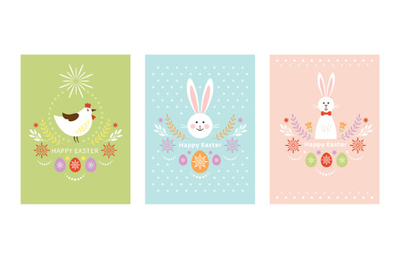 Happy Easter card design, vertical composition, pastel colors, cute bunny and chicken