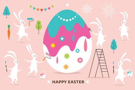 Easter scene, cute bunnies paint a big Easter Egg