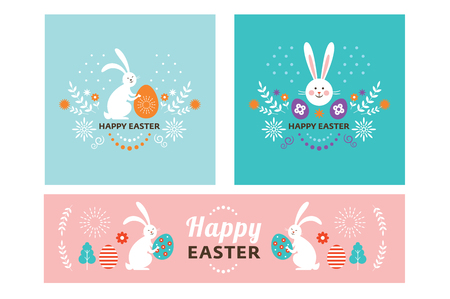 Easter banner design, square and horizontal banners set