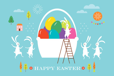 Easter scene, egg hunt, cute bunnies and big basket with eggs