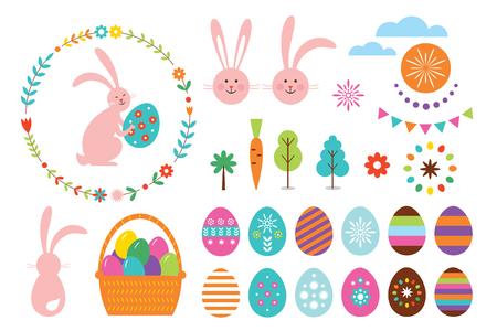 Happy Easter Set, vector elements for your design Illustration