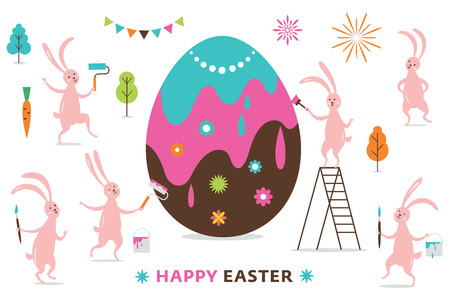 Easter scene, cute funny bunnies painting a big Easter Egg
