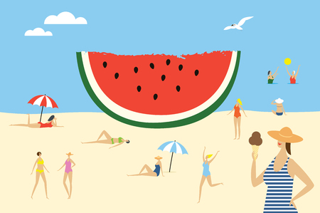 Women on the beach and big piece of watermelon. Vector summertime cartoon illustration. Illustration