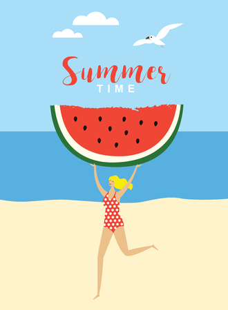 Young running woman with big piece of watermelon. Beach.Vector summertime cartoon illustration. Illusztráció