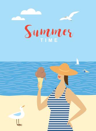 jonge vrouw met ijs op het strand. Vector zomer cartoon afbeelding.