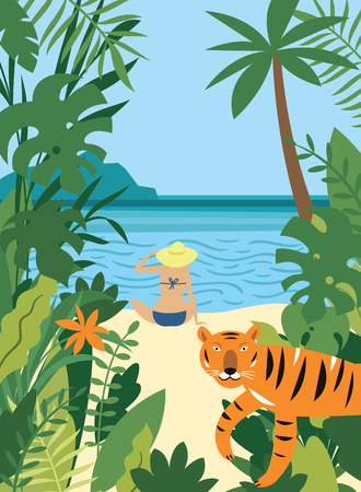 young woman on the beach and tiger