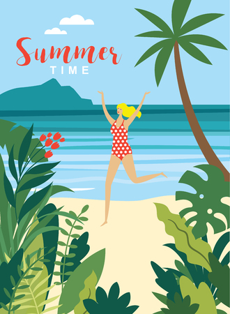 Young running woman on the beach.Vector summertime cartoon illustration. Illustration