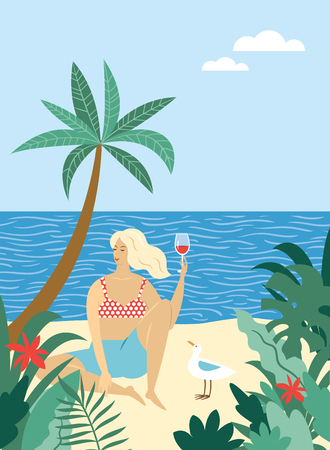 young woman relaxes and drinks wine on the beach, near seagull , tropical plants around Illustration