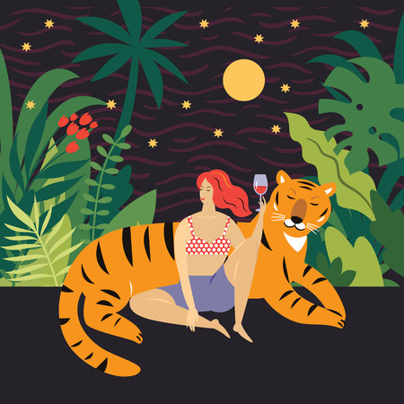young woman and big tiger among tropical plants, vector illustration