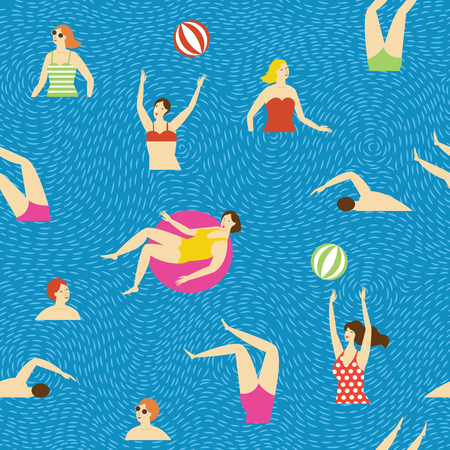 seamless pattern, swimmmers in the water