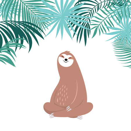 cute sloth is sleeping and smiles, adorable  animal of rainforest, greeting card design