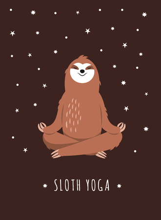 Pereza de yoga. Lindo personaje, adorable perezoso Ilustración de vector