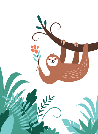 cute adorable sloth hanging on the branch of tree, animal of rainforest Illustration