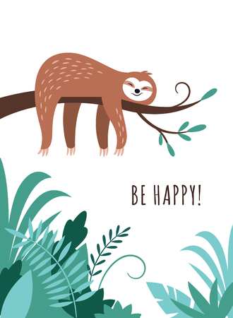 cute sloth is sleeping on the branch of tree, adorable  animal of rainforest, greeting card design