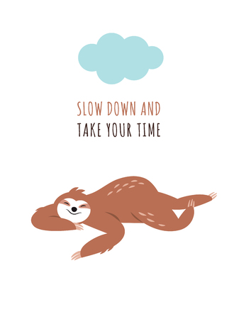cute sloth sleeping, greeting card design