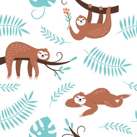 cute sloths hanging on the tree, seamless pattern Ilustração