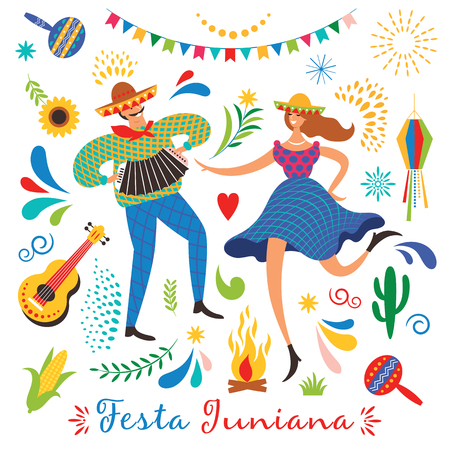 Festa Junina.La fête de juin du Brésil. Ambiance festive. Carnaval du Brésil. Ensemble d'éléments vectoriels festifs, guitare, maïs, feu, lanterne, danse homme et femme Vecteurs