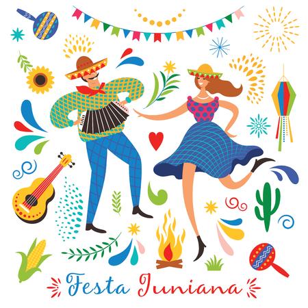 Festa Junina, la fiesta de junio de Brasil. Actitud festiva. Carnaval de Brasil. Conjunto de elementos vectoriales festivos, guitarra, maíz, fuego, linterna, hombre y mujer bailando Ilustración de vector