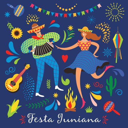 Festa Junina.The June party of Brazil. Festive Mood. Brazil carnival. Set of  festive vector elements, guitar, corn, fire, lantern, dansing man and woman Standard-Bild - 124560175
