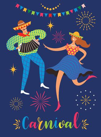 Festa Junina.The June party of Brazil. Festive Mood. Brazil carnival. Set of  festive vector elements, dansing man and woman Banque d'images - 124560177